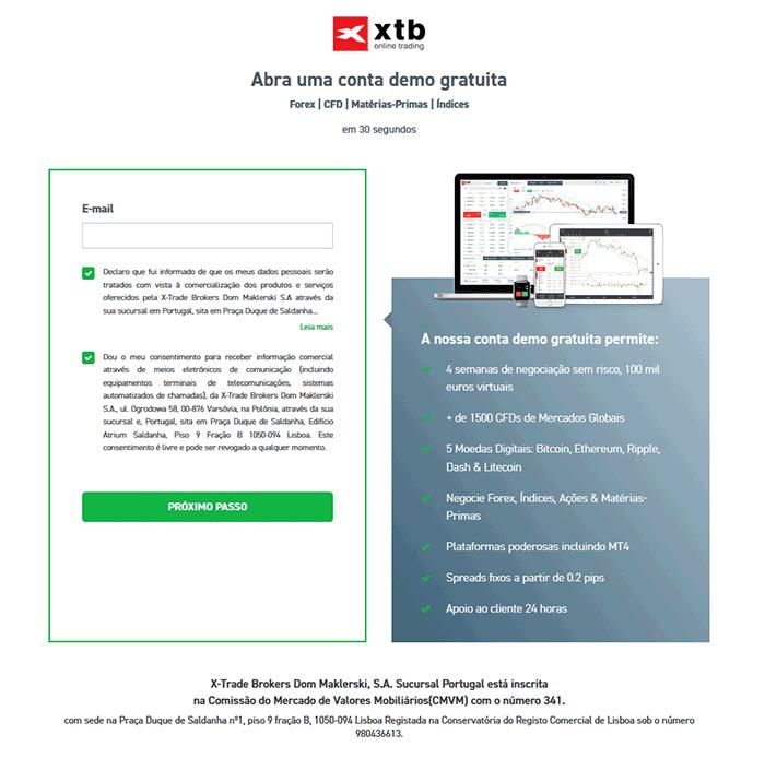 Abrir conta demo na XTB Portugal