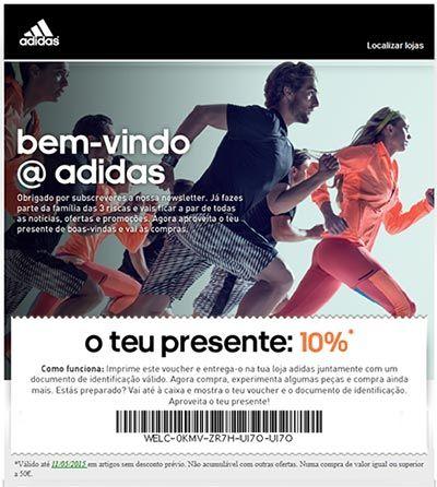 Voucher desconto lojas Adidas email