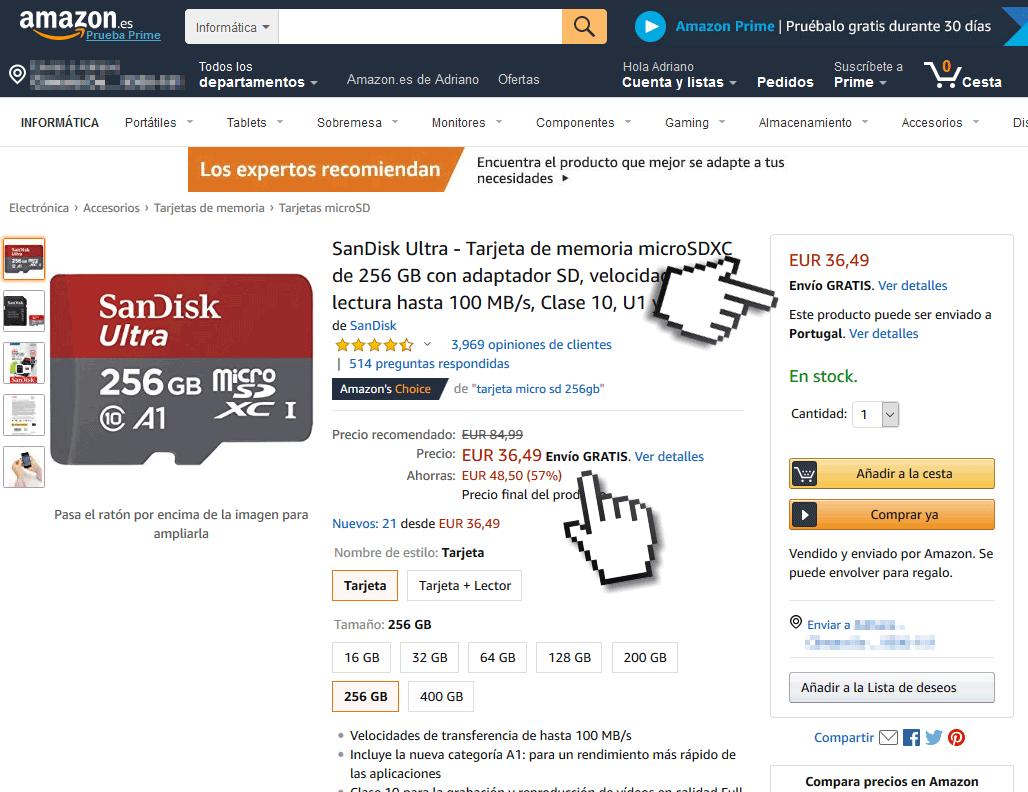 Produto na Amazon Espanha com envio grátis para Portugal