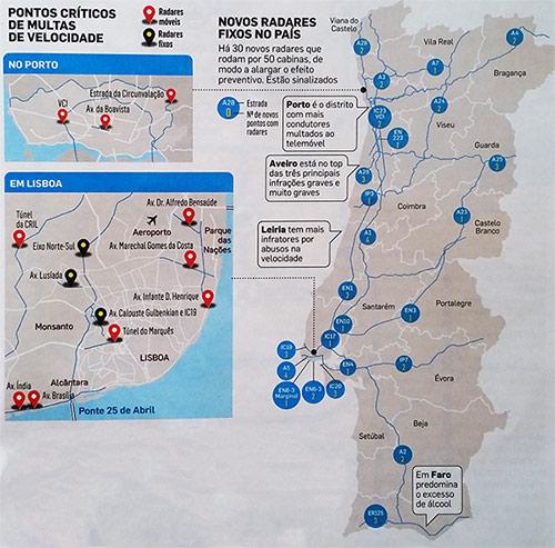 Localização dos radares de velocidade em Lisboa, Porto e Portugal