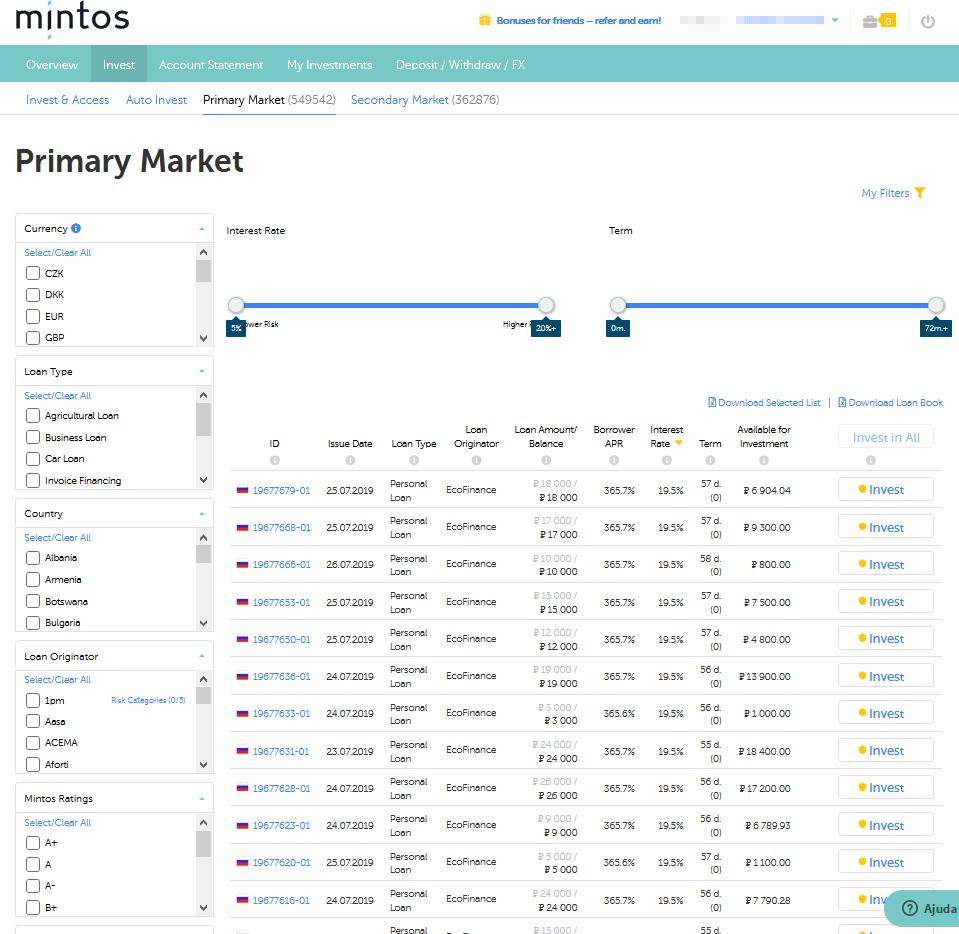 Mercado Primário para investir em empréstimos na Mintos