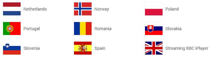 Países para usar a VPN Unlimited