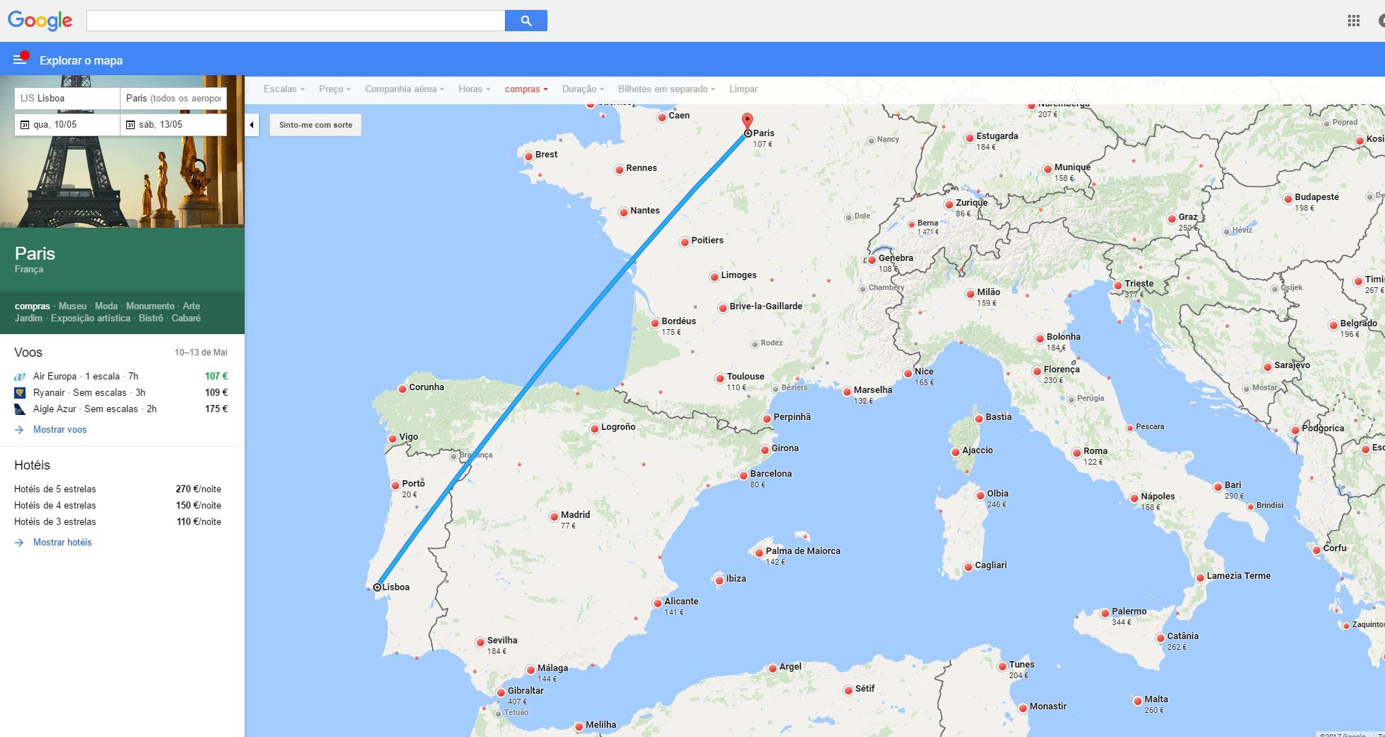 Reservar voo no mapa Google Voos