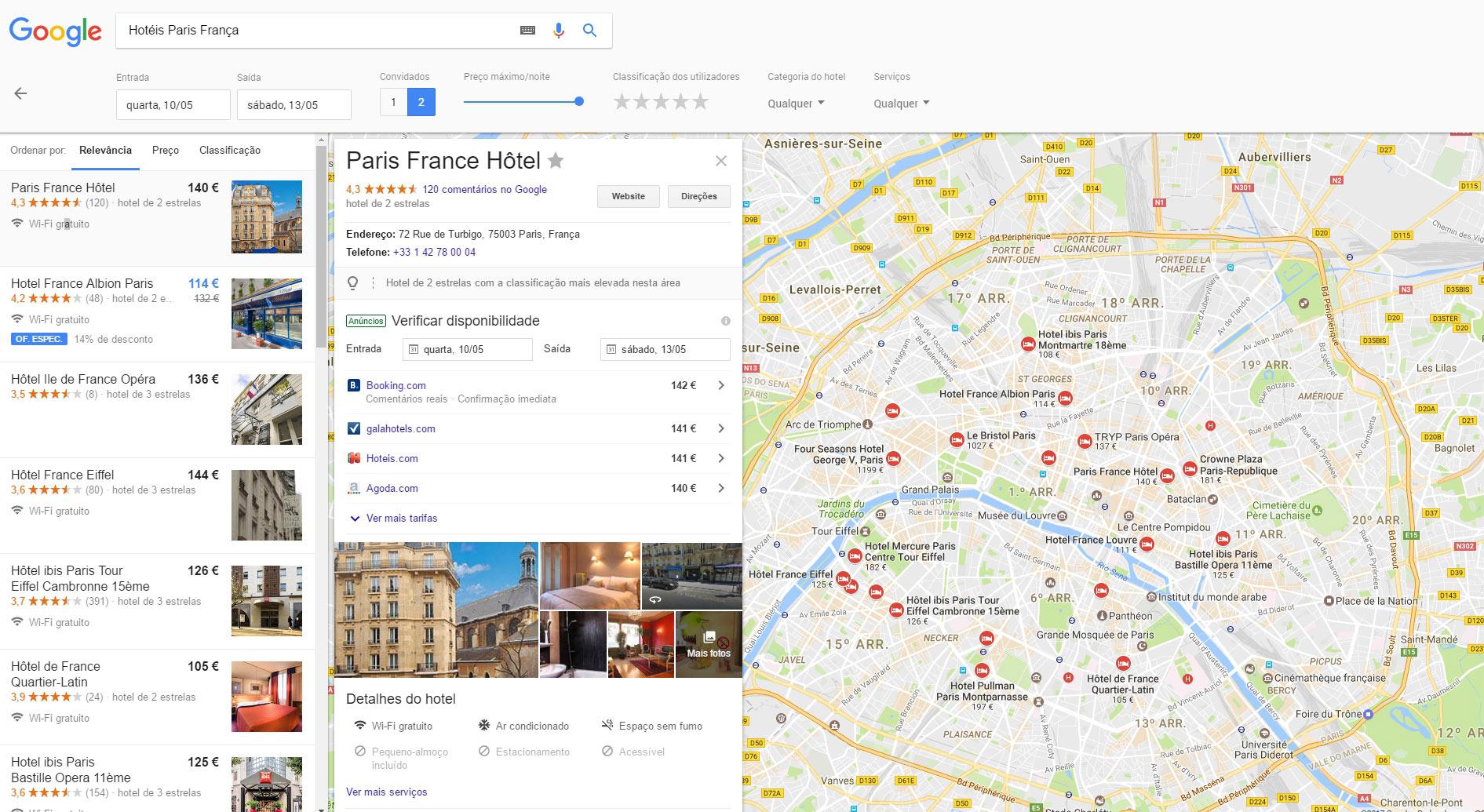Reservar hotel no Google Voos