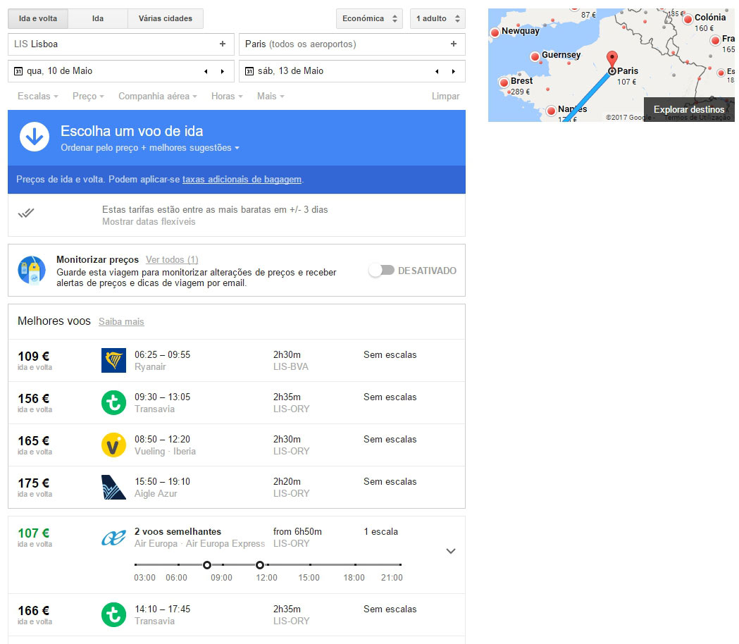Reservar voo no Google Voos