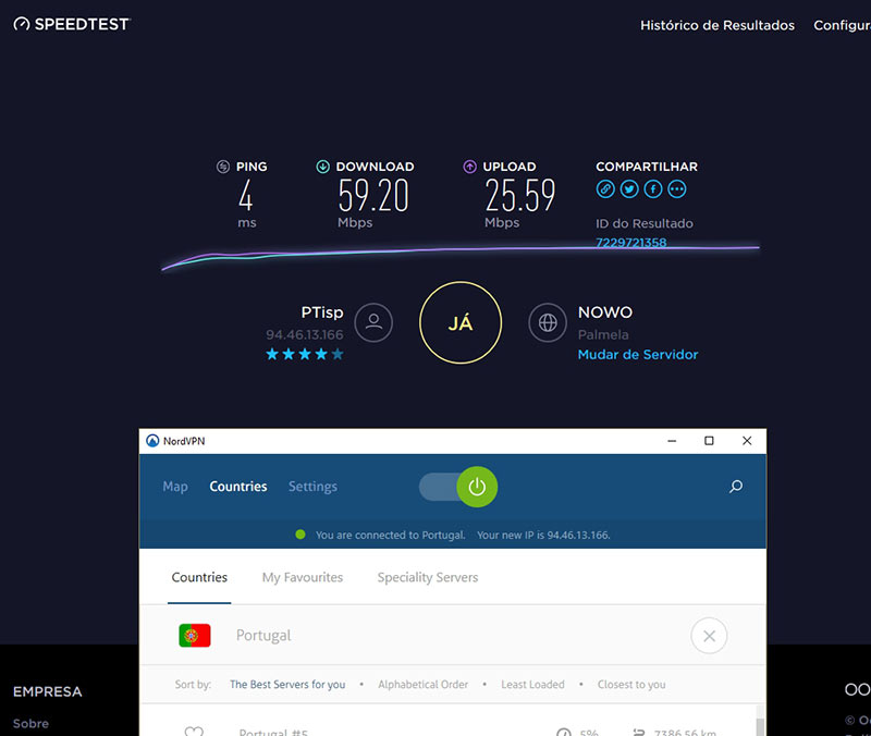 Teste speedtest.net ao servidor VPN em Portugal