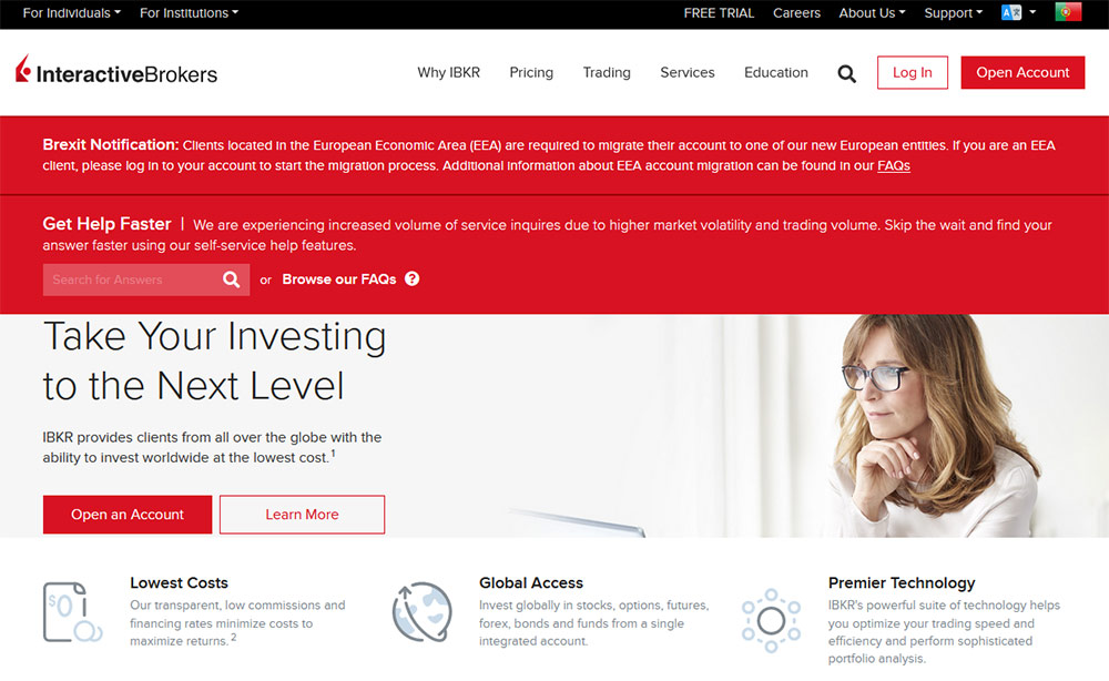 Site da Interactive Brokers