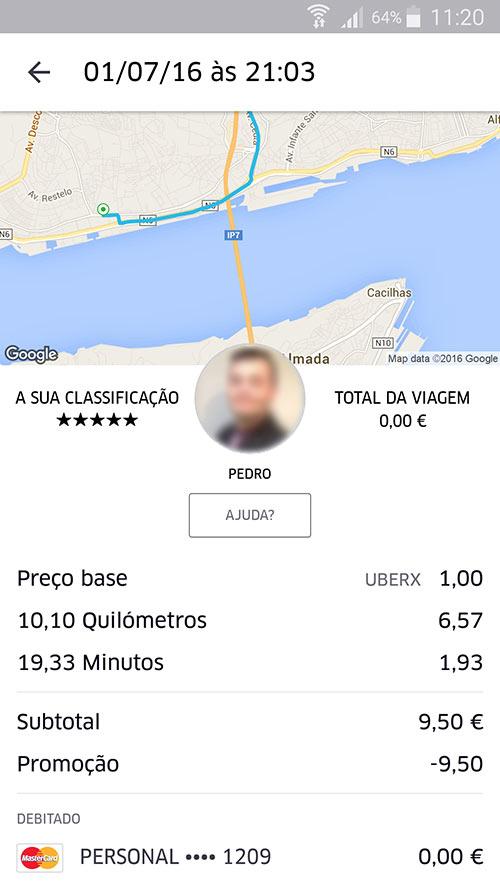 Viagem Grátis UBER em Lisboa